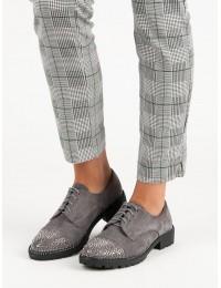Elegantiški pilkos spalvos batai su raišteliais - G1553G