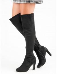 Išskirtiniai aukštos kokybės juodi batai virš kelių
