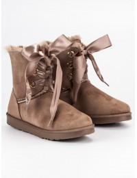 Stilingi UGG stiliaus batai su satino raišteliais - K1875001TA