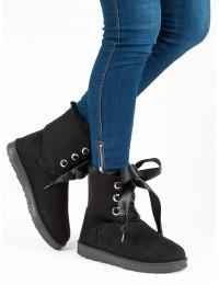 Stilingi UGG stiliaus batai su satino raišteliais - K1875001NE