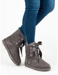 Stilingi UGG stiliaus batai su satino raišteliais - K1875001G