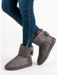 Pilki UGG stiliaus batai su žaviu kaspinėliu - BF-86G