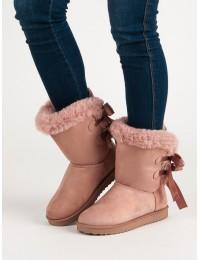 Šilti rausvos spalvos batai su kaspinėliais - LV59P