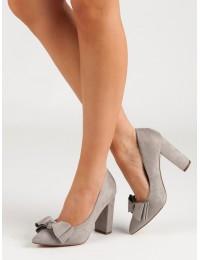 Pilki elegantiški aukštakulniai papuošti kaspinėliu - SY42G