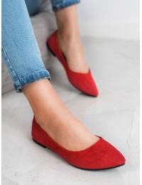 Raudonos spalvos zomšinės balerinos