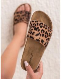 Leopardo rašto zomšinės šlepetės