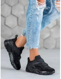 Stilingi juodos spalvos SNEAKERS modelio batai - S420B