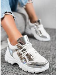 Madingi balti batai su sidabro spalvos detalėmis - CB-19080W/S