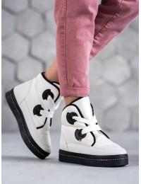 Madingi baltos spalvos šilti žieminiai batai