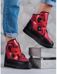 Madingi raudonos spalvos šilti žieminiai batai