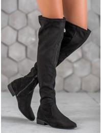 Zomšiniai stilingi juodi ilgi batai