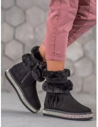 Šilti batai su kailiuku papuošti kristalais