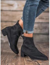 Madingi juodos spalvos zomšiniai batai - F769B