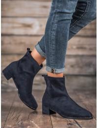 Madingi mėlynos spalvos zomšiniai batai - F769BL