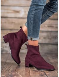 Madingi bordo spalvos zomšiniai batai - F769R