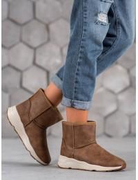 Šilti žieminiai rudos spalvos batai - D007C