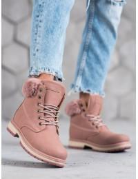 Rožinės spalvos komfortiški aulinukai su kailiuku - ANN20-14426P