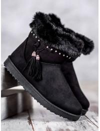 Stilingi patogūs šilti batai papuošti žėrinčiais kristalais - LV68B