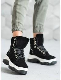 Juodi patogūs batai su platforma ir pašilnimu - HE118B