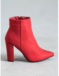 Zomšiniai elegantiški raudonos spalvos aukštakulniai aulinukai su pašiltinimu - NC899R