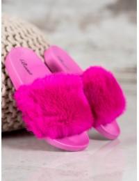 Madingos rožinės spalvos šlepetės su kailiuku - SX-1F
