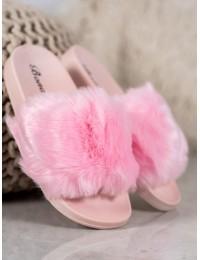 Madingos rožinės spalvos šlepetės su kailiuku