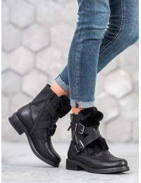 Stilingi juodos spalvos batai su kailiuku - 1061A-B