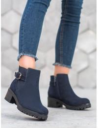 Tamsiai mėlyni zomšiniai batai su pašiltinimu