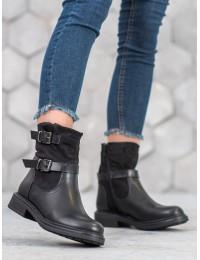 Stilingi šilti juodi batai - V19017B