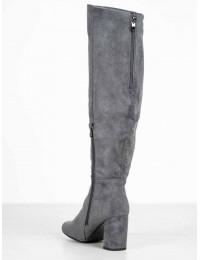 Zomšiniai elegantiški pilkos spalvos ilgaauliai - HF09G