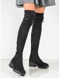 Išskirtiniai madingi juodi ilgi batai virš kelių - NC712B