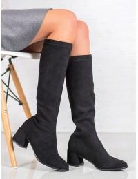 Elegantiški juodi zomšiniai batai - DKZ932/19B