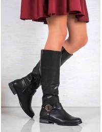 Madingi juodi elegantiški ilgaauliai batai - 6283-1B