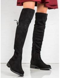 Madingi ilgi juodi zomšiniai batai - SU-2850B