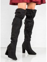 Subtilūs juodi ilgaauliai batai virš kelių - M287B