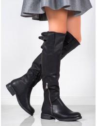 Juodi odiniai ilgaauliai batai - F2075B