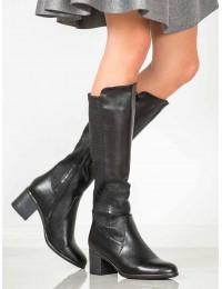 Juodi ilgaauliai blizgios odos batai su faktūrinėmis detalėmis - DKZ1058/19B