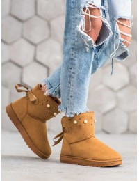 Šilti UGG stiliaus batai papuošti perlais - E40C