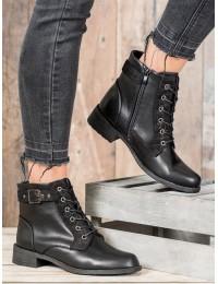 Klasikiniai juodi odiniai suvarstomi batai - PH8030B