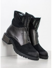 Madingi juodi batai su sidabro/ metalo spalvos papuošimais - FASHION  - GD-LJ-204B