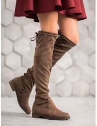 Elegantiški zomšiniai rudos spalvos batai virš kelių - V19035KH