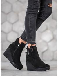 Juodi zomšiniai aukštos kokybės madingi batai su platforma - DBT1037/19B