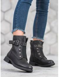 Juodi stilingi odiniai batai - V19014B