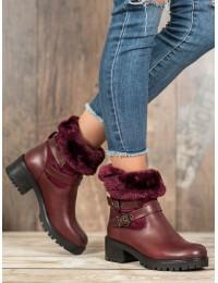 Bordo spalvos batai su kailiu - C-7180WI/R