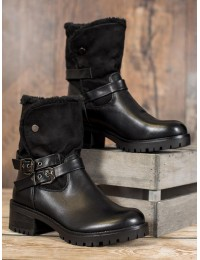Juodos spalvos batai su kailiu - C-7180B