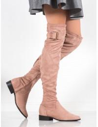 Elegantiški pastelinės spalvos ilgi batai dekoruoti sagtele - YL96047P