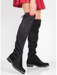 Juodi zomšiniai ilgaauliai batai - V19035B