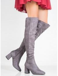 Elegantiški pilkos spalvos ilgi batai virš kelių - YQ215G