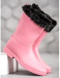 Rožinės spalvos šilti guminiai batai - D49P