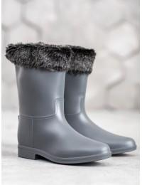 Pilkos spalvos šilti guminiai batai - D49G
